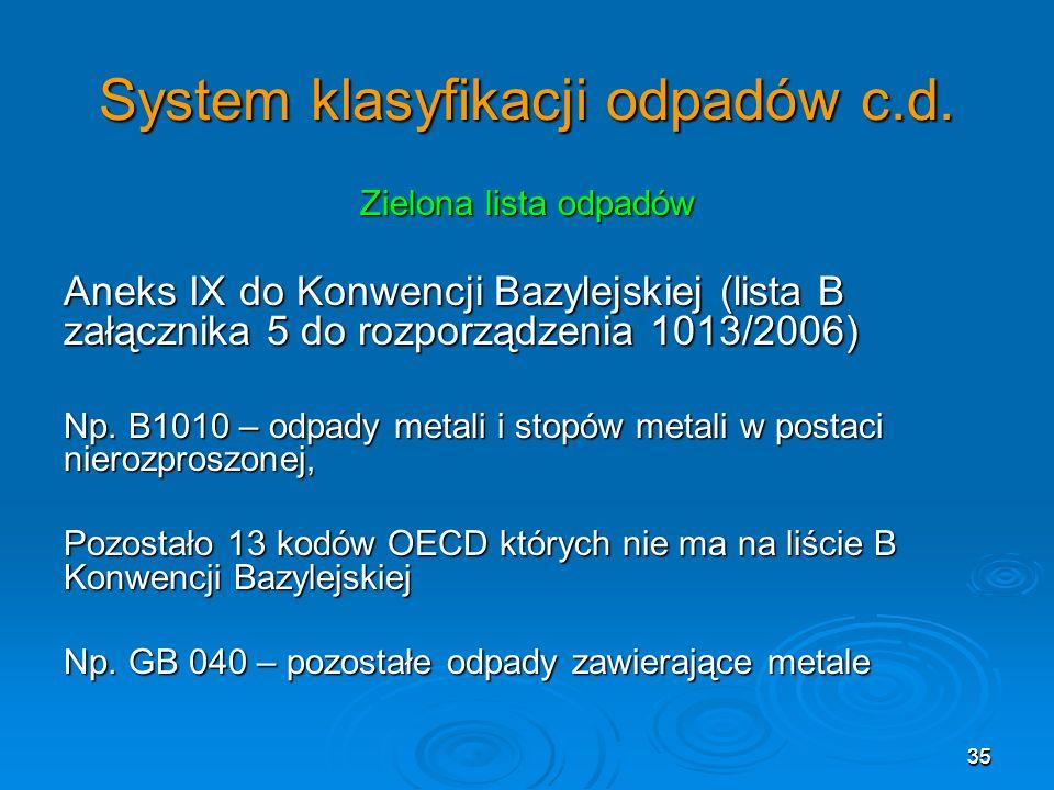 35 System klasyfikacji odpadów c.d.