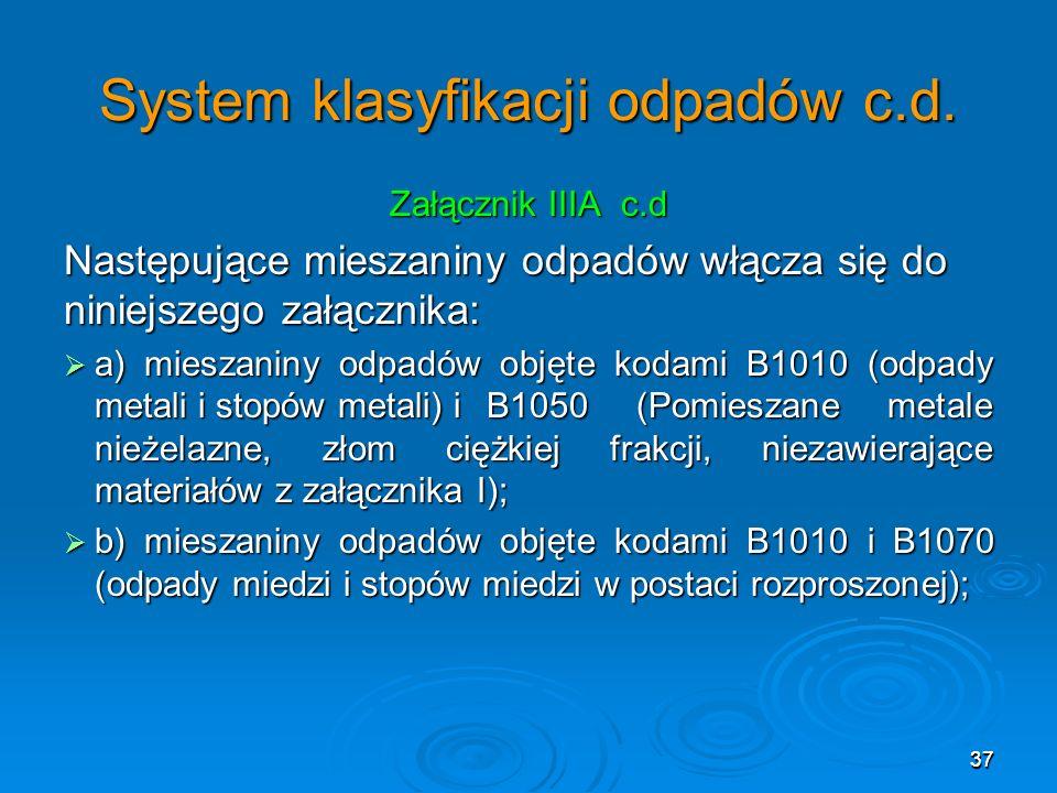37 System klasyfikacji odpadów c.d.