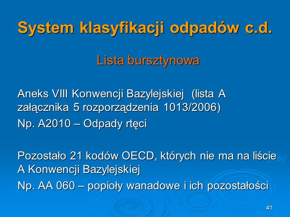 41 System klasyfikacji odpadów c.d.