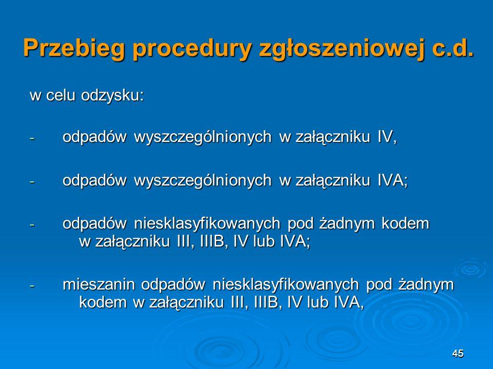 45 Przebieg procedury zgłoszeniowej c.d.