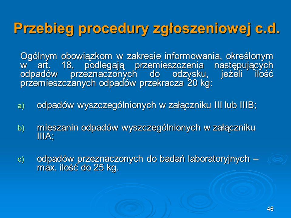 46 Przebieg procedury zgłoszeniowej c.d.