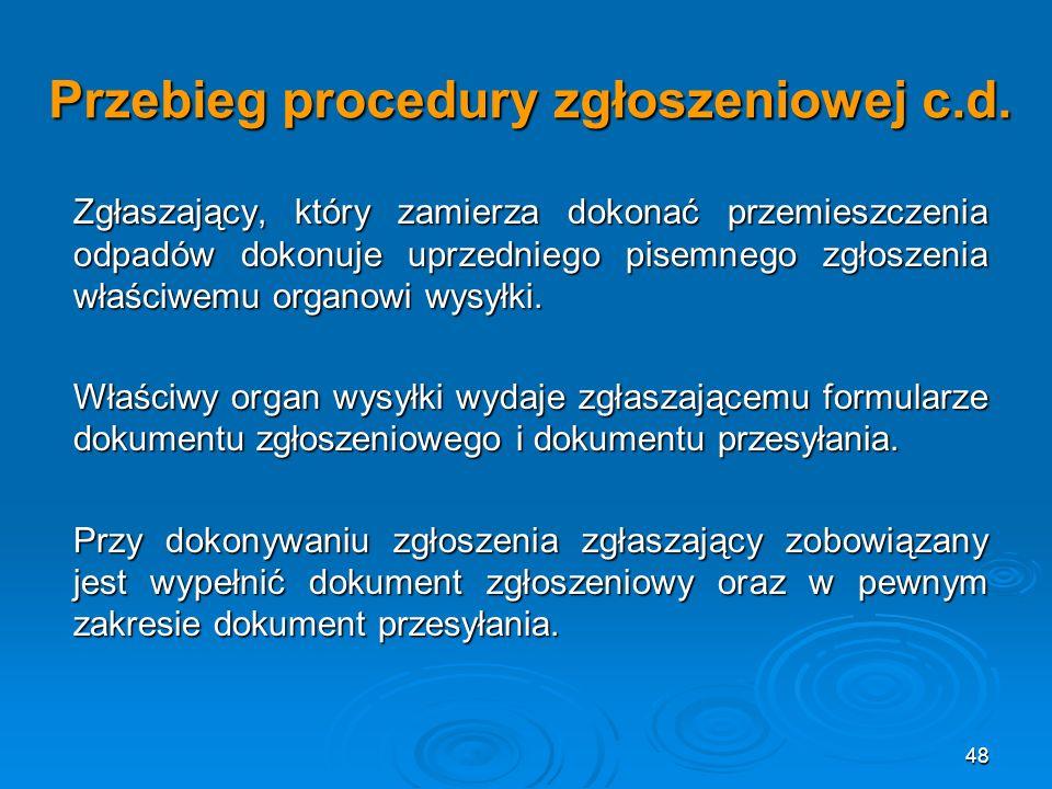 48 Przebieg procedury zgłoszeniowej c.d.