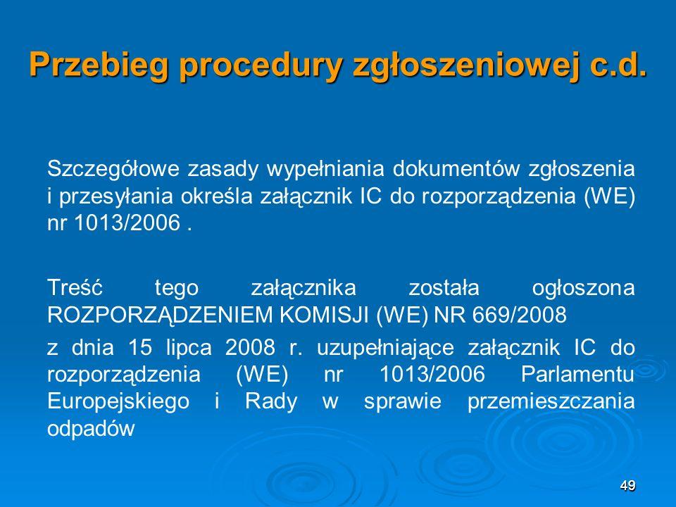 49 Przebieg procedury zgłoszeniowej c.d.