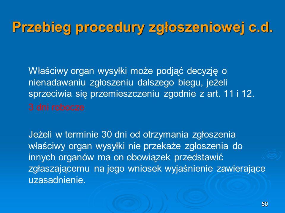 50 Przebieg procedury zgłoszeniowej c.d.