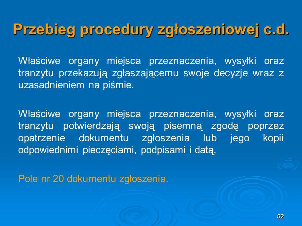 52 Przebieg procedury zgłoszeniowej c.d.