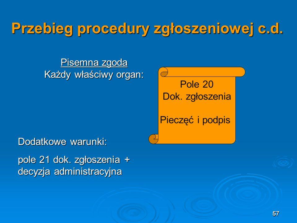 57 Przebieg procedury zgłoszeniowej c.d.Pole 20 Dok.