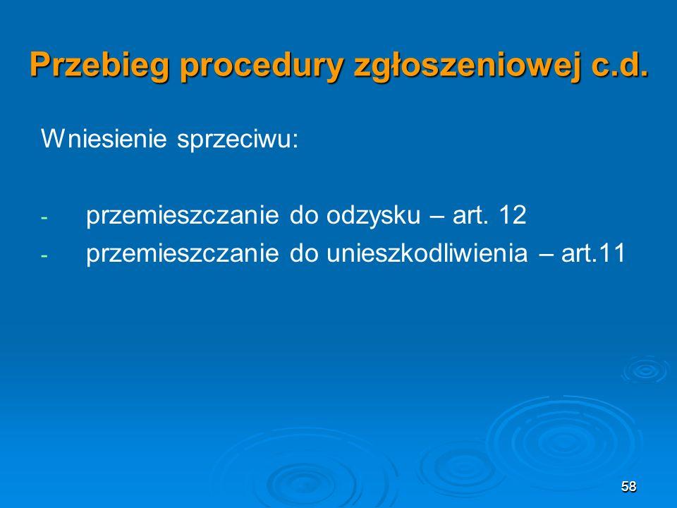 58 Przebieg procedury zgłoszeniowej c.d.