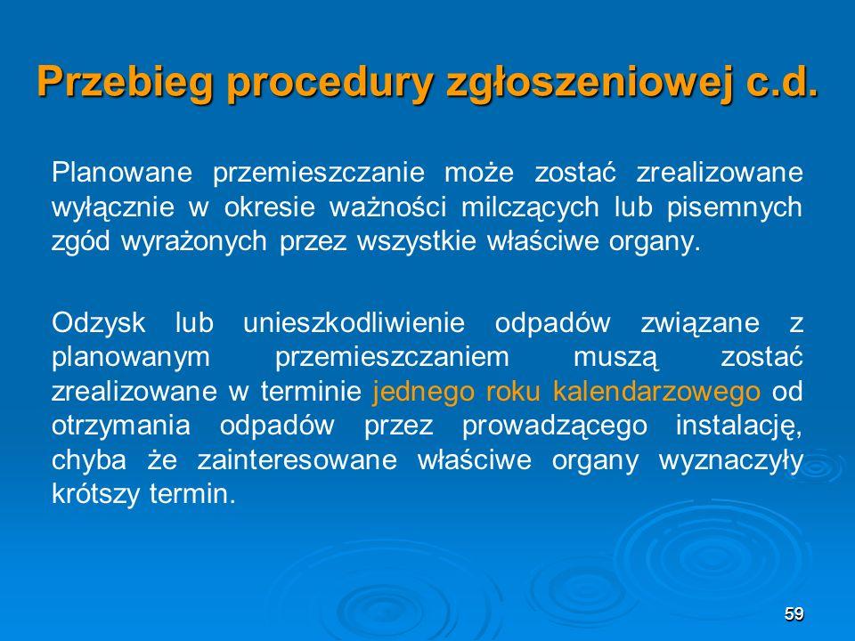 59 Przebieg procedury zgłoszeniowej c.d.