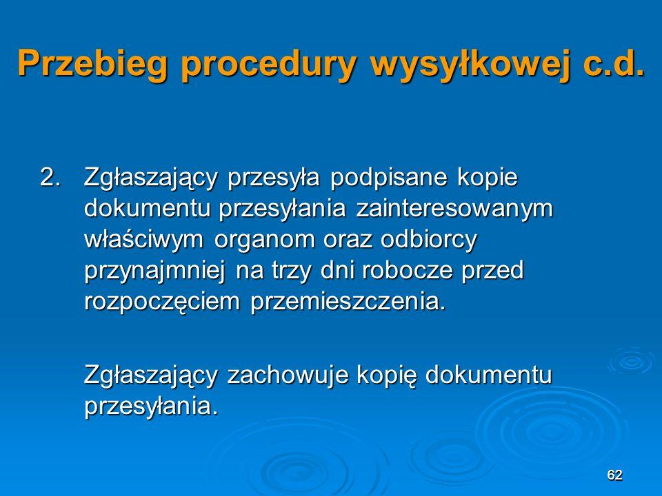 62 Przebieg procedury wysyłkowej c.d.2.