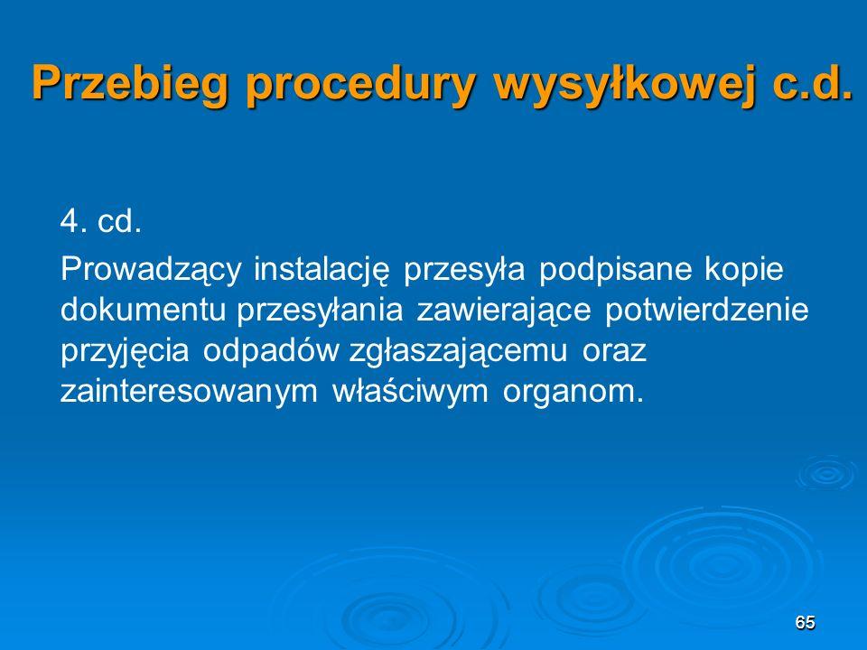 65 Przebieg procedury wysyłkowej c.d.4. cd.