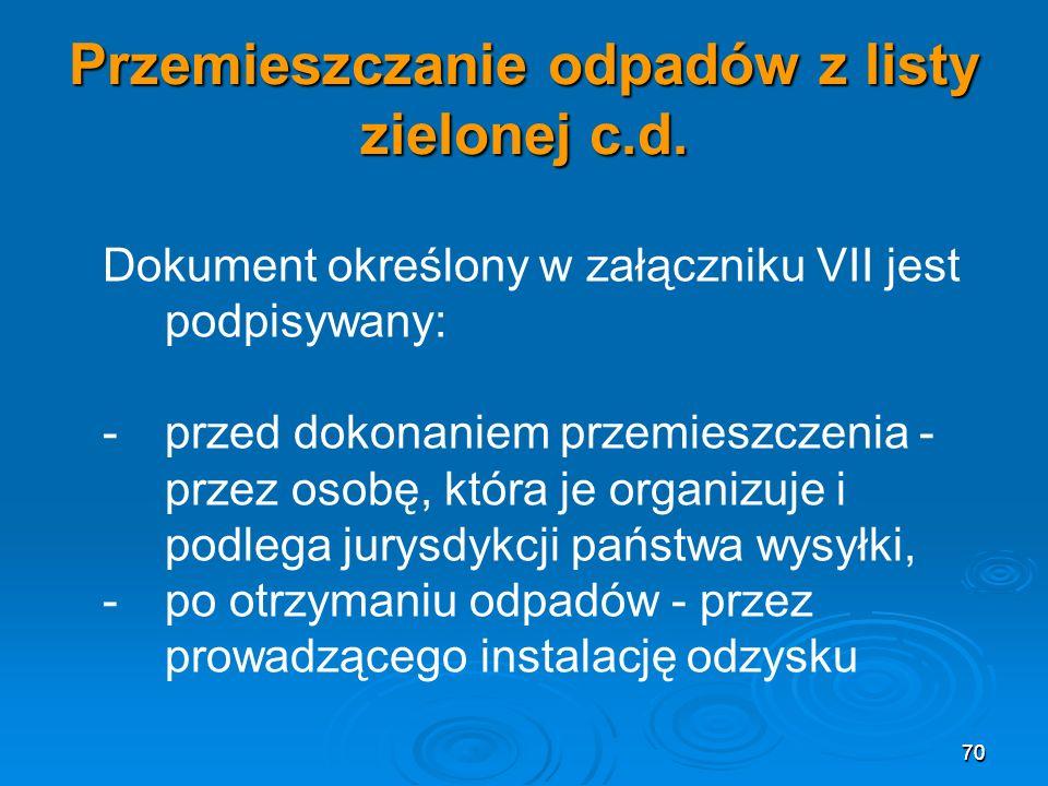 70 Przemieszczanie odpadów z listy zielonej c.d.