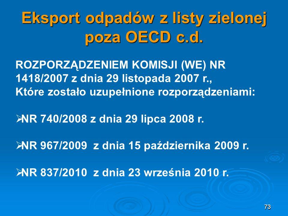 73 Eksport odpadów z listy zielonej poza OECD c.d.