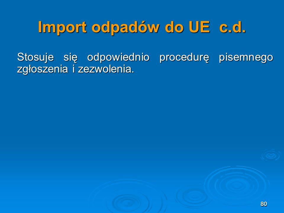 80 Import odpadów do UE c.d.Stosuje się odpowiednio procedurę pisemnego zgłoszenia i zezwolenia.