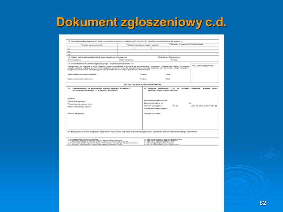 Dokument zgłoszeniowy c.d. 82