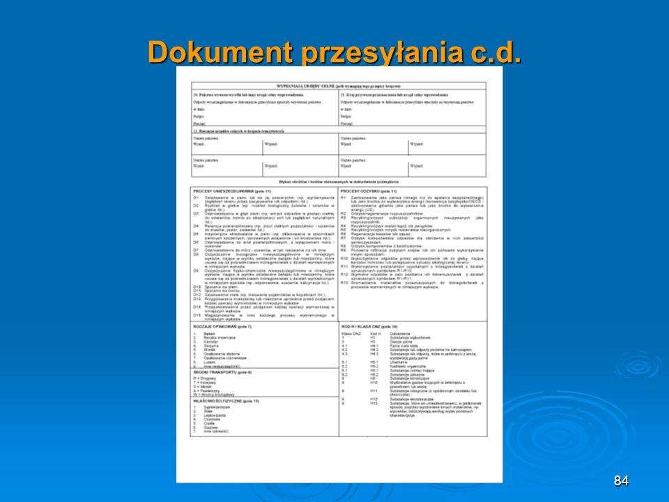Dokument przesyłania c.d. 84