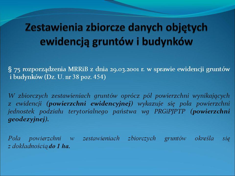§ 75 rozporządzenia MRRiB z dnia 29.03.2001 r. w sprawie ewidencji gruntów i budynków ( Dz.