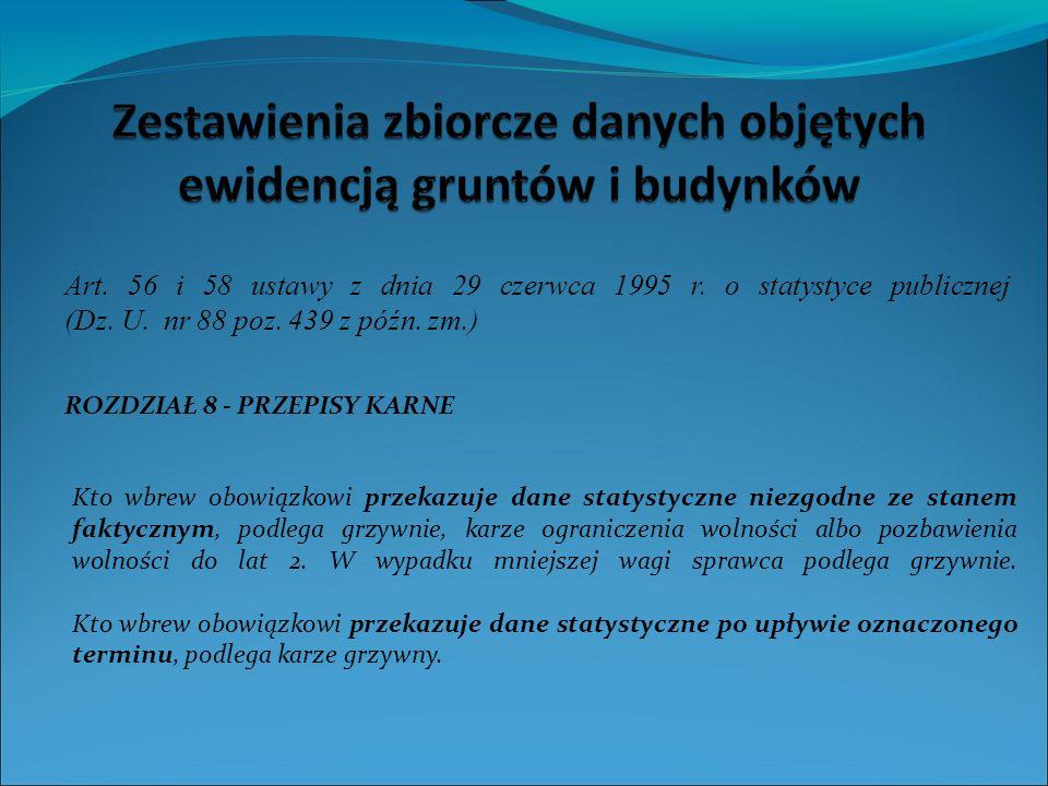 ROZDZIAŁ 8 - PRZEPISY KARNE Art.56 i 58 ustawy z dnia 29 czerwca 1995 r.