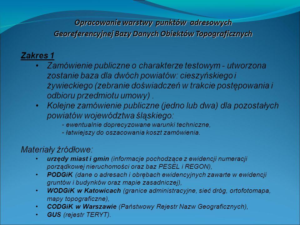 Zakres 1 Zamówienie publiczne o charakterze testowym - utworzona zostanie baza dla dwóch powiatów: cieszyńskiego i żywieckiego (zebranie doświadczeń w trakcie postępowania i odbioru przedmiotu umowy).