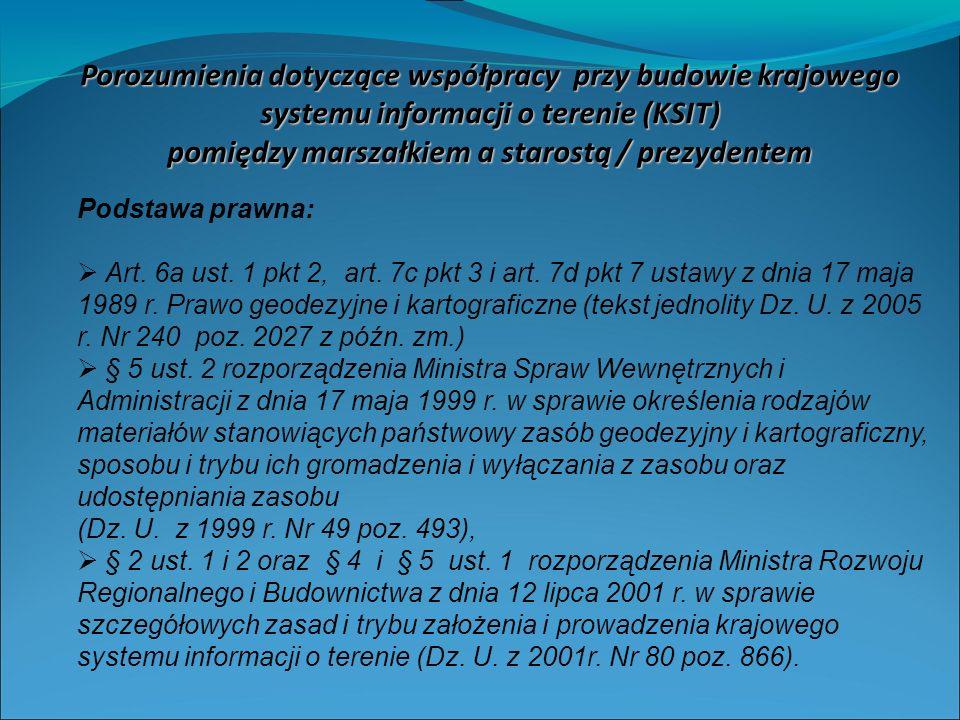 Porozumienia dotyczące współpracy przy budowie krajowego systemu informacji o terenie (KSIT) pomiędzy marszałkiem a starostą / prezydentem Podstawa prawna: Art.