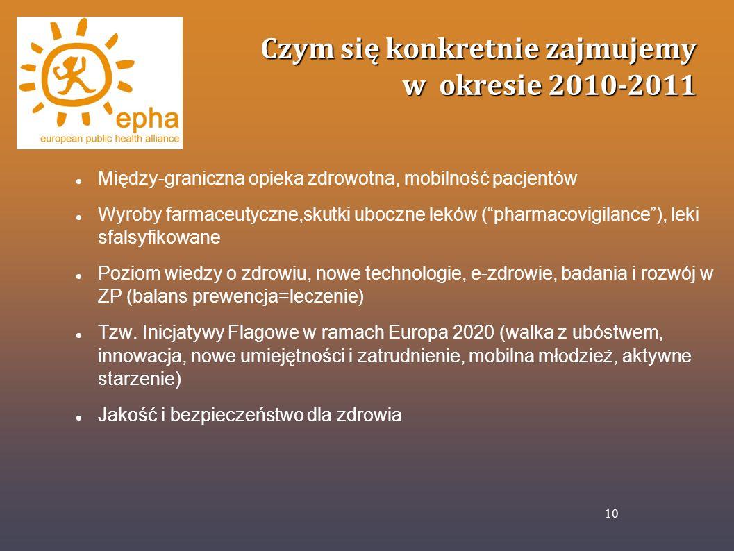 Czym się konkretnie zajmujemy w okresie 2010-2011 Między-graniczna opieka zdrowotna, mobilność pacjentów Wyroby farmaceutyczne,skutki uboczne leków (p