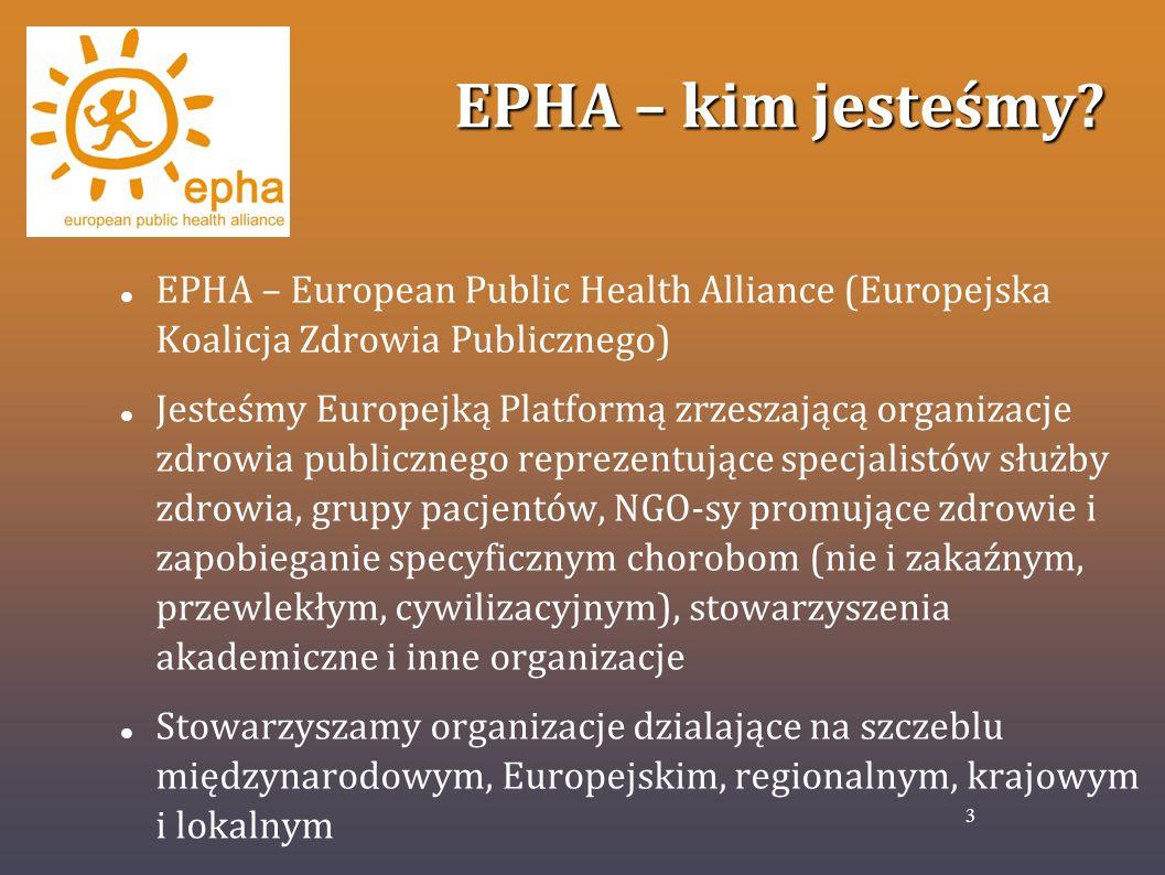 EPHA – kim jesteśmy? EPHA – European Public Health Alliance (Europejska Koalicja Zdrowia Publicznego) Jesteśmy Europejką Platformą zrzeszającą organiz