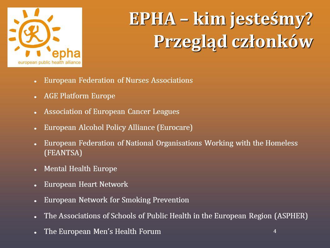EPHA – kim jesteśmy? Przegląd członków European Federation of Nurses Associations AGE Platform Europe Association of European Cancer Leagues European