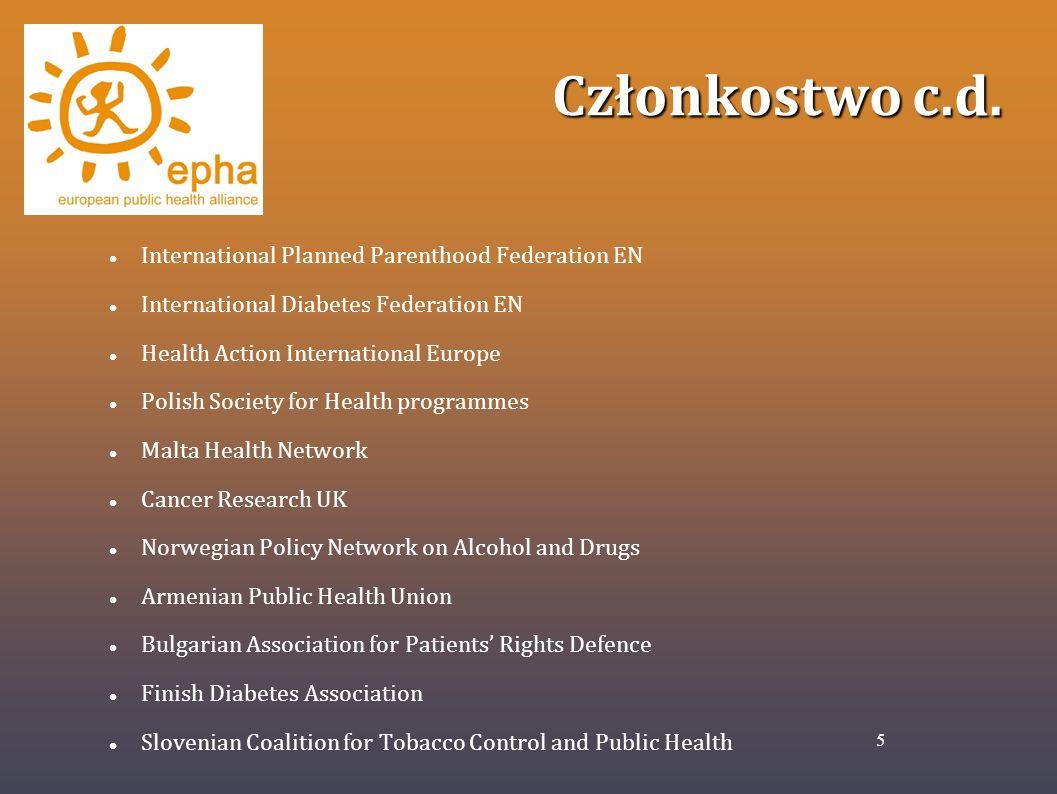 Członkostwo c.d. International Planned Parenthood Federation EN International Diabetes Federation EN Health Action International Europe Polish Society
