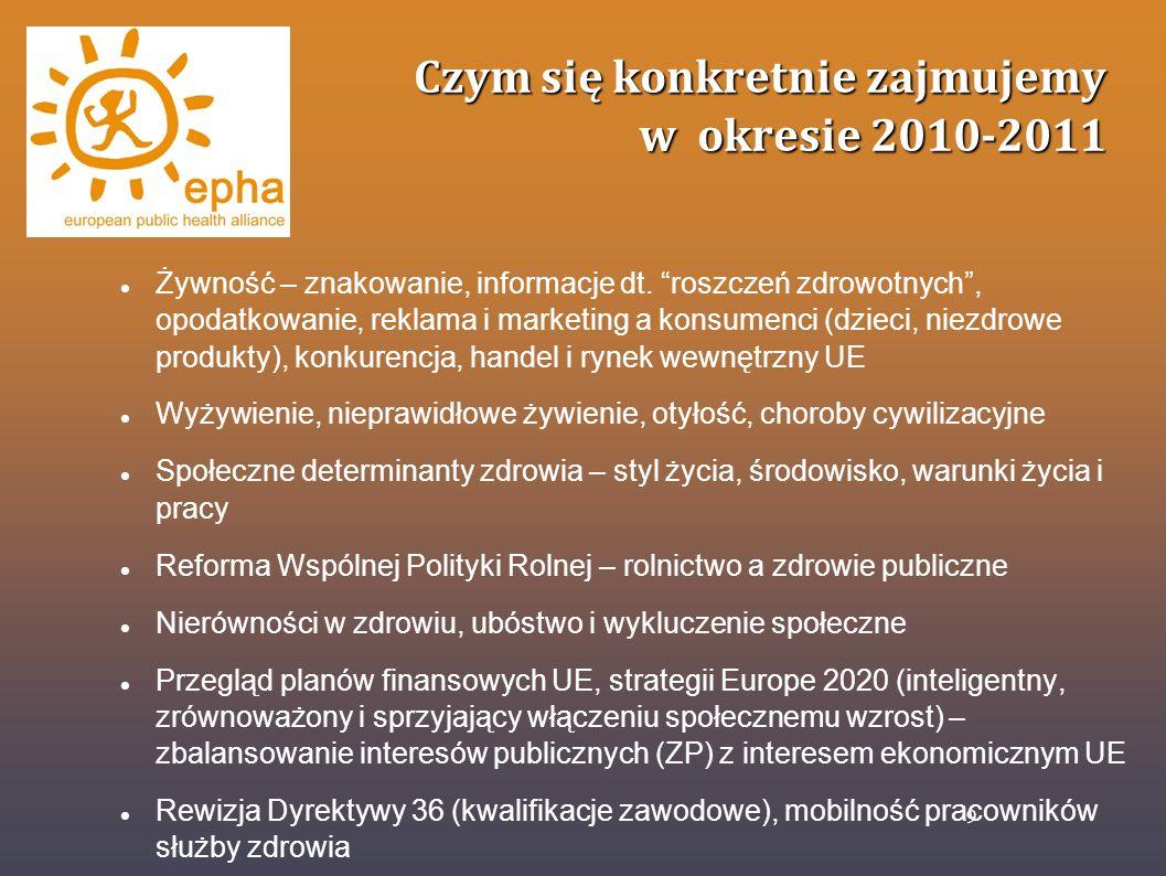 Czym się konkretnie zajmujemy w okresie 2010-2011 Między-graniczna opieka zdrowotna, mobilność pacjentów Wyroby farmaceutyczne,skutki uboczne leków (pharmacovigilance), leki sfalsyfikowane Poziom wiedzy o zdrowiu, nowe technologie, e-zdrowie, badania i rozwój w ZP (balans prewencja=leczenie) Tzw.