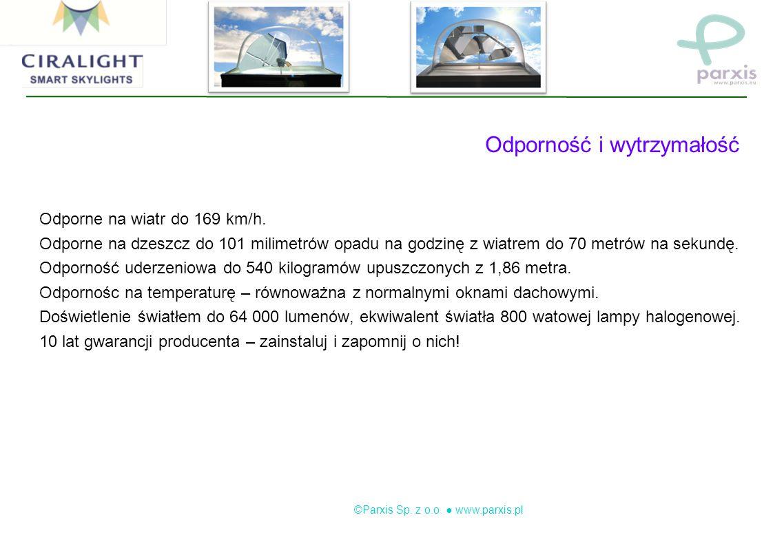 ©Parxis Sp. z o.o. www.parxis.pl Odporność i wytrzymałość Odporne na wiatr do 169 km/h.