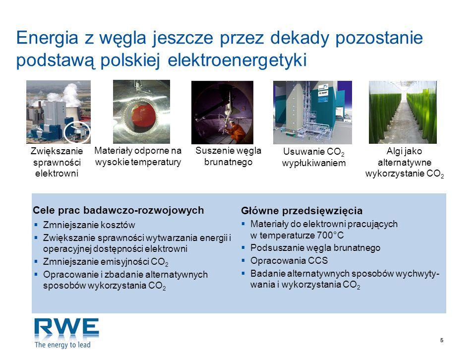 55 Energia z węgla jeszcze przez dekady pozostanie podstawą polskiej elektroenergetyki Cele prac badawczo-rozwojowych Główne przedsięwzięcia Zmniejsza
