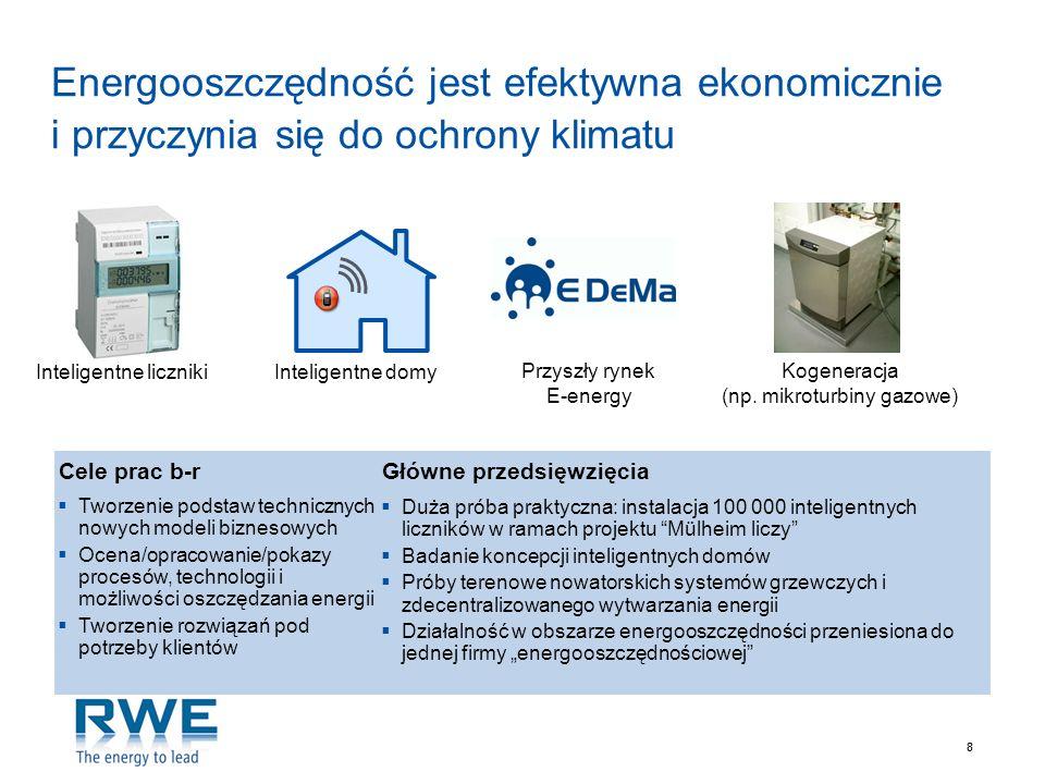 88 Energooszczędność jest efektywna ekonomicznie i przyczynia się do ochrony klimatu Kogeneracja (np. mikroturbiny gazowe) Inteligentne liczniki Przys