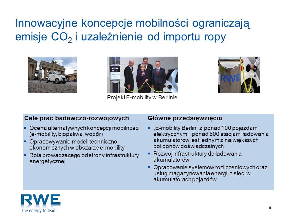 99 Innowacyjne koncepcje mobilności ograniczają emisje CO 2 i uzależnienie od importu ropy Projekt E-mobility w Berlinie E-mobility Berlin z ponad 100