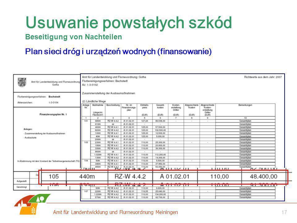 17 Amt für Landentwicklung und Flurneuordnung Meiningen Usuwanie powstałych szkód Beseitigung von Nachteilen Plan sieci dróg i urządzeń wodnych (finan