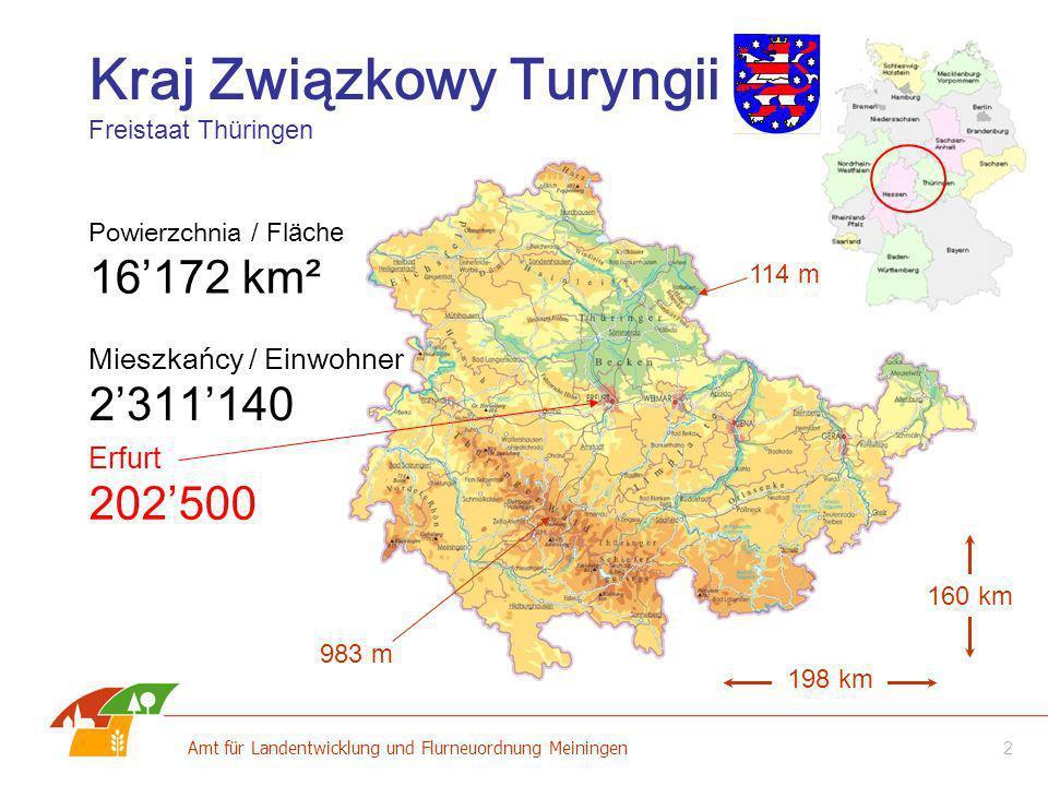 2 Amt für Landentwicklung und Flurneuordnung Meiningen Kraj Związkowy Turyngii Freistaat Thüringen Powierzchnia / Fläche 16172 km² Mieszkańcy / Einwoh