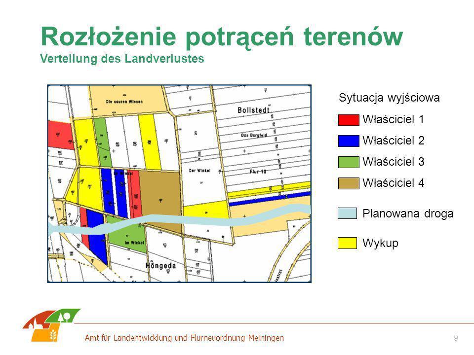 10 Amt für Landentwicklung und Flurneuordnung Meiningen Rozłożenie potrąceń terenów Verteilung des Landverlustes Pas drogowy Sytuacja wyjściowa Właściciel 1 Właściciel 2 Właściciel 3 Właściciel 4