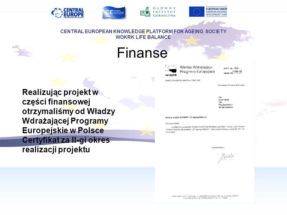 Finanse Realizując projekt w części finansowej otrzymaliśmy od Władzy Wdrażającej Programy Europejskie w Polsce Certyfikat za II-gi okres realizacji p