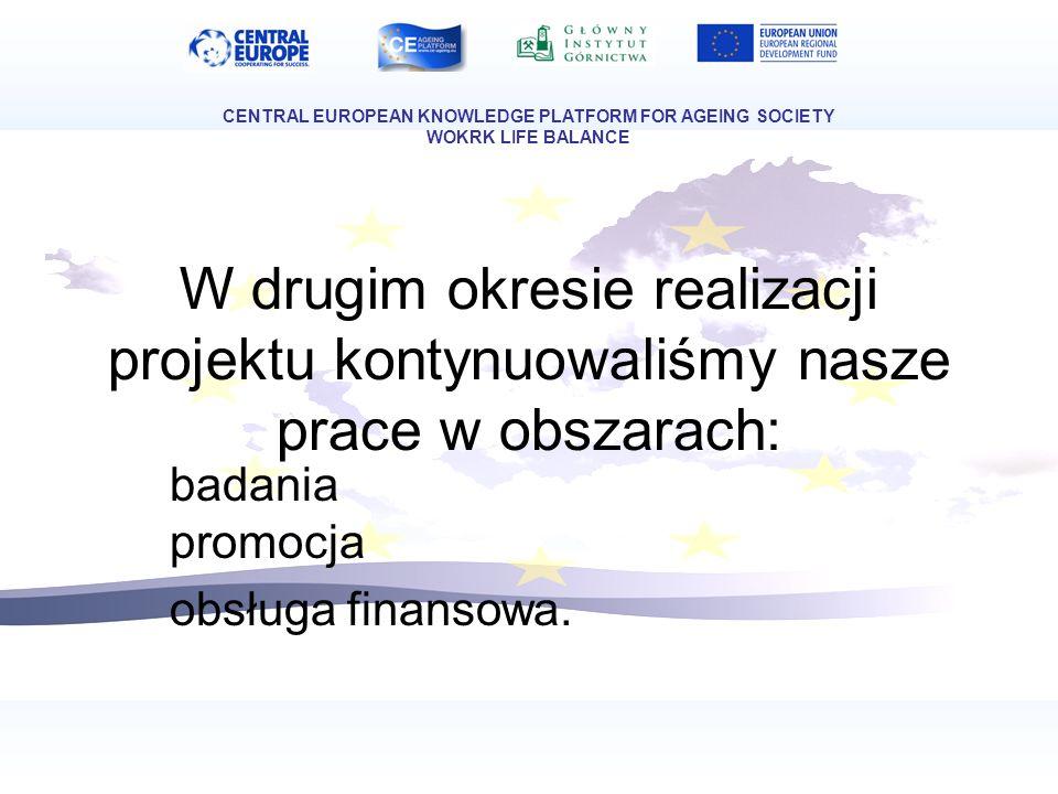 W drugim okresie realizacji projektu kontynuowaliśmy nasze prace w obszarach: badania promocja obsługa finansowa. CENTRAL EUROPEAN KNOWLEDGE PLATFORM