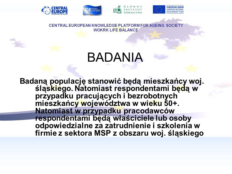 BADANIA Badaną populację stanowić będą mieszkańcy woj. śląskiego. Natomiast respondentami będą w przypadku pracujących i bezrobotnych mieszkańcy wojew