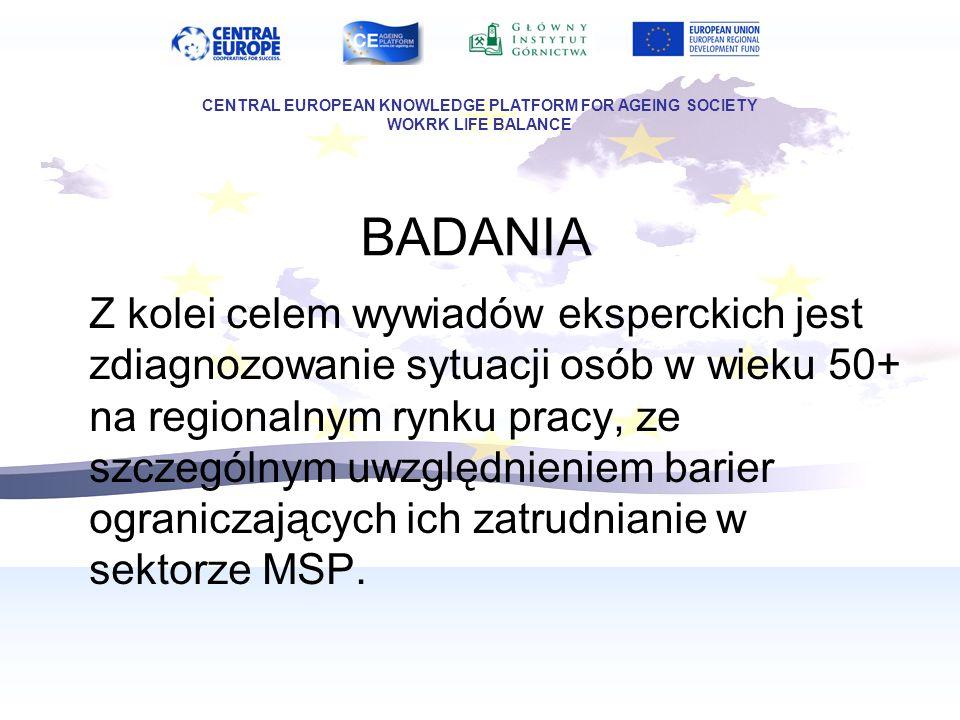BADANIA Z kolei celem wywiadów eksperckich jest zdiagnozowanie sytuacji osób w wieku 50+ na regionalnym rynku pracy, ze szczególnym uwzględnieniem bar