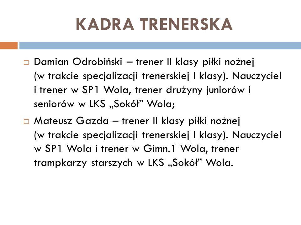 KADRA TRENERSKA Damian Odrobiński – trener II klasy piłki nożnej (w trakcie specjalizacji trenerskiej I klasy). Nauczyciel i trener w SP1 Wola, trener