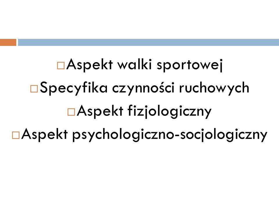 Aspekt walki sportowej Specyfika czynności ruchowych Aspekt fizjologiczny Aspekt psychologiczno-socjologiczny
