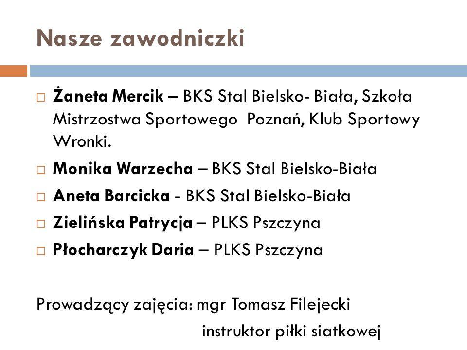 Nasze zawodniczki Żaneta Mercik – BKS Stal Bielsko- Biała, Szkoła Mistrzostwa Sportowego Poznań, Klub Sportowy Wronki. Monika Warzecha – BKS Stal Biel