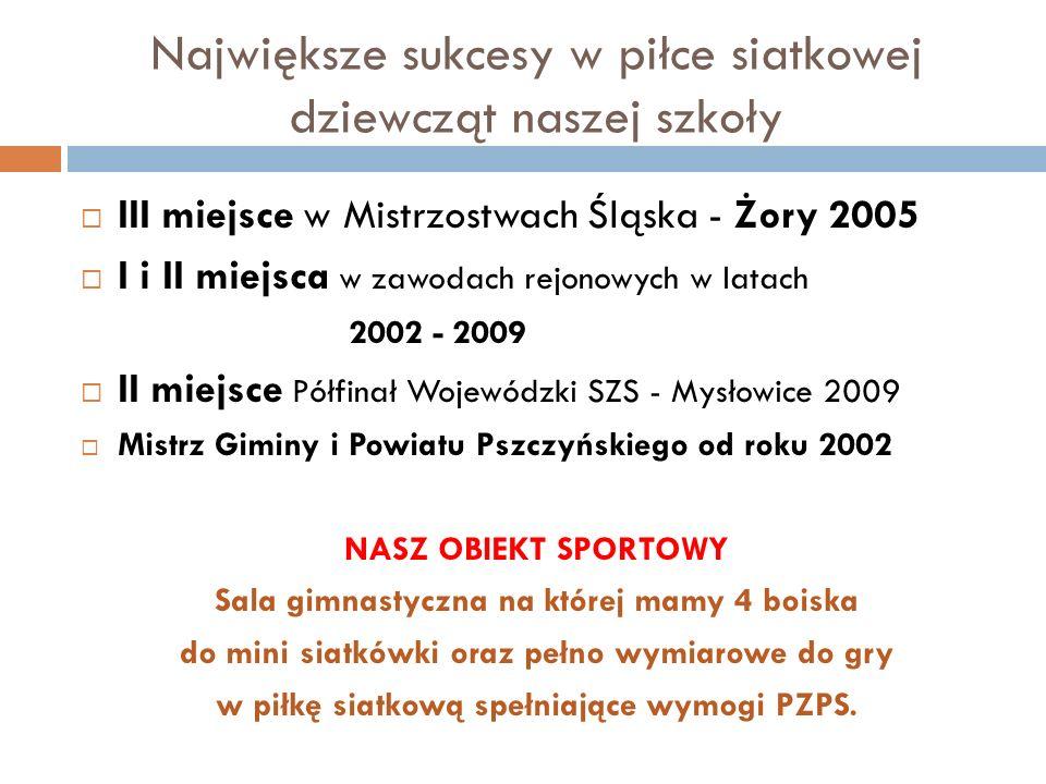 Największe sukcesy w piłce siatkowej dziewcząt naszej szkoły III miejsce w Mistrzostwach Śląska - Żory 2005 I i II miejsca w zawodach rejonowych w lat