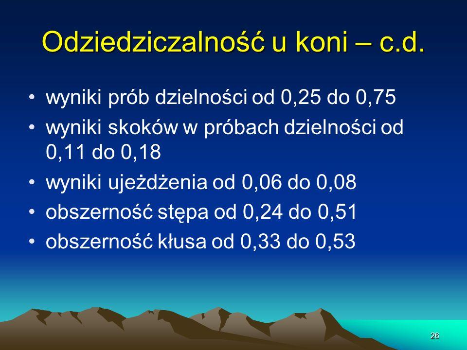 26 wyniki prób dzielności od 0,25 do 0,75 wyniki skoków w próbach dzielności od 0,11 do 0,18 wyniki ujeżdżenia od 0,06 do 0,08 obszerność stępa od 0,2