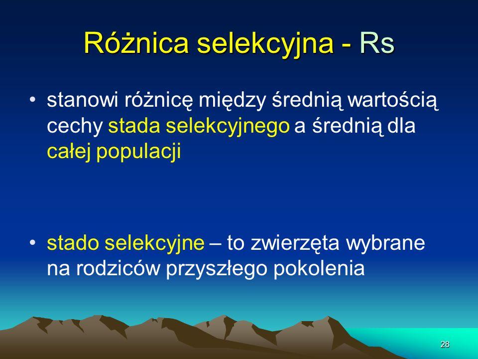 28 Różnica selekcyjna - Rs stanowi różnicę między średnią wartością cechy stada selekcyjnego a średnią dla całej populacji stado selekcyjne – to zwier