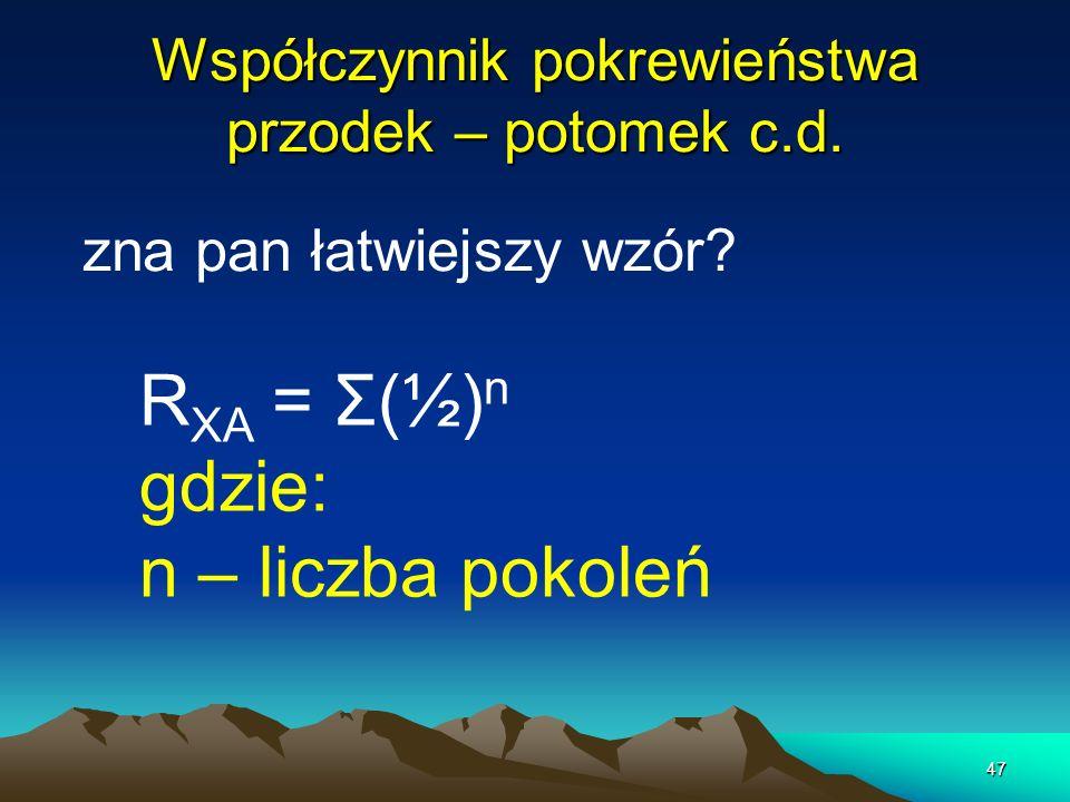 47 Współczynnik pokrewieństwa przodek – potomek c.d. zna pan łatwiejszy wzór? R XA = Σ(½) n gdzie: n – liczba pokoleń