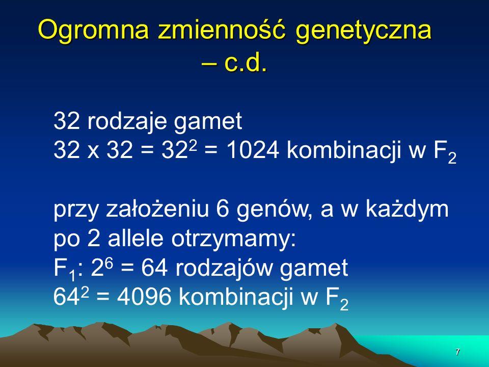 7 Ogromna zmienność genetyczna – c.d. 32 rodzaje gamet 32 x 32 = 32 2 = 1024 kombinacji w F 2 przy założeniu 6 genów, a w każdym po 2 allele otrzymamy