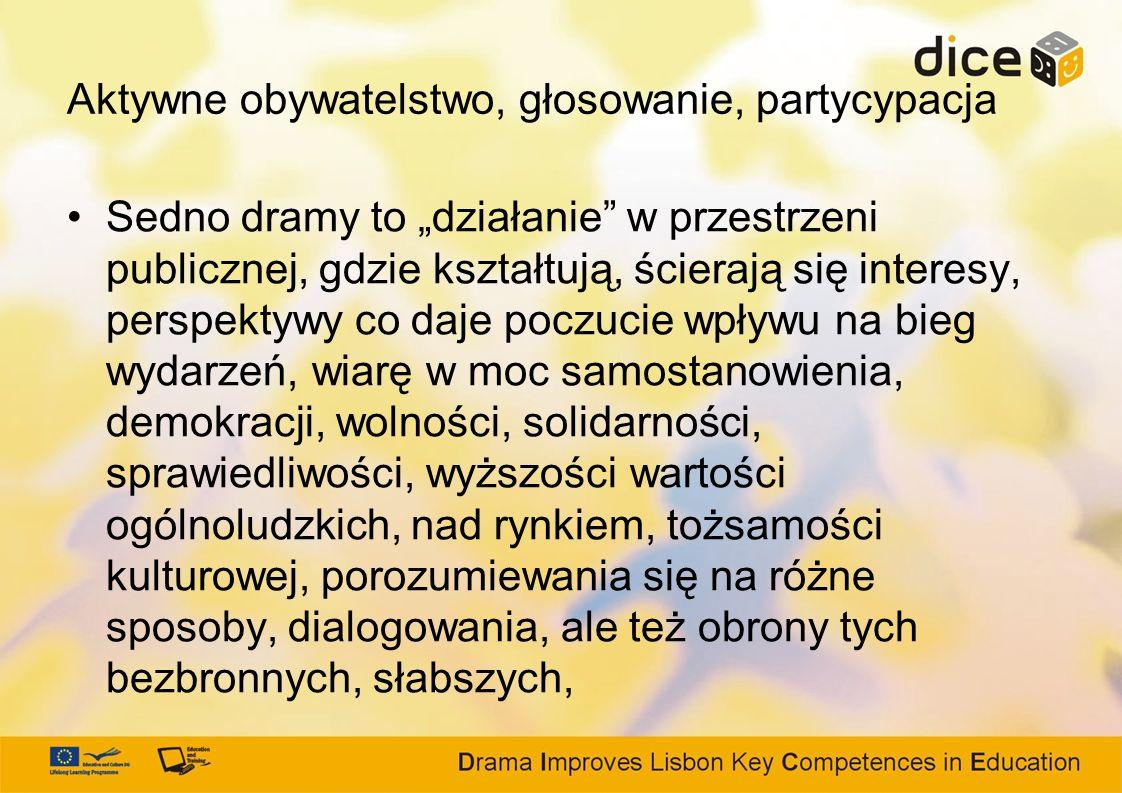 Aktywne obywatelstwo, głosowanie, partycypacja Sedno dramy to działanie w przestrzeni publicznej, gdzie kształtują, ścierają się interesy, perspektywy