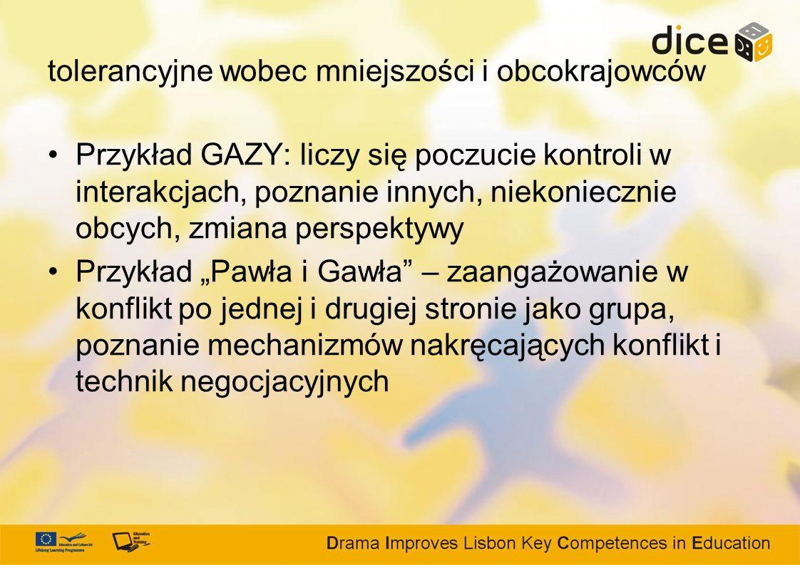 tolerancyjne wobec mniejszości i obcokrajowców Przykład GAZY: liczy się poczucie kontroli w interakcjach, poznanie innych, niekoniecznie obcych, zmian