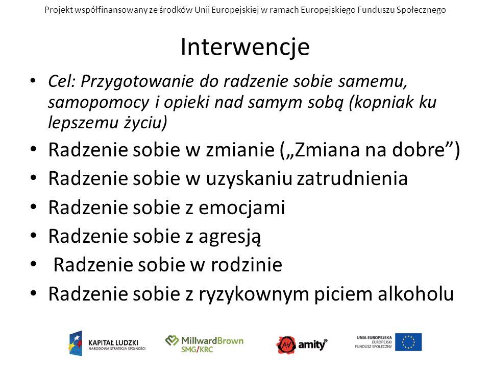 Projekt współfinansowany ze środków Unii Europejskiej w ramach Europejskiego Funduszu Społecznego Interwencje Cel: Przygotowanie do radzenie sobie sam